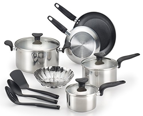 T Fal C917sc Enjoy Stainless Steel Dishwasher Safe Cookware Set 12 Piece Silver Stainless